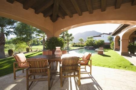 palm springs: Sunlit veranda of Palm Springs hacienda