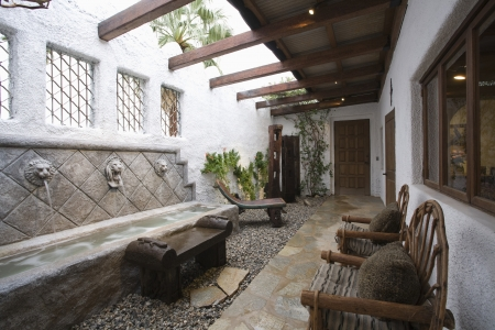 water feature: Palm Springs hacienda water feature