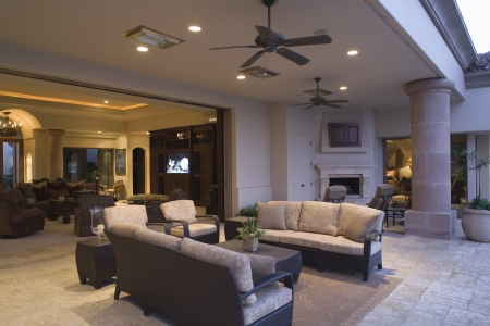 ceiling fan: Palm Springs outdoor living area