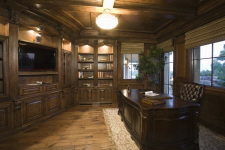 wood panelled: Lit study of Palm Springs home