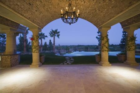 Palm Springs hacienda at dusk