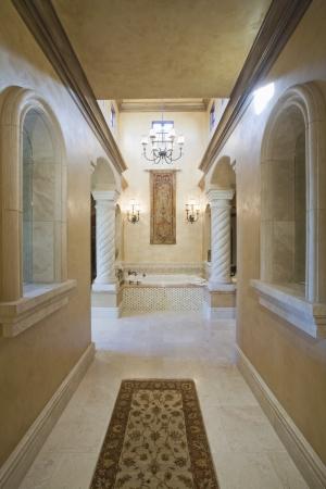 riverside county: Marble hallway corridor of Palm Springs home
