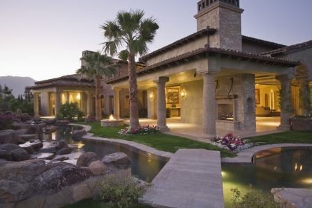 Palm Springs hacienda at dusk