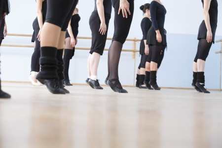 ballet shoes: Young women practise ballet in a rehearsal room