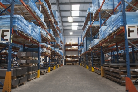 warehouse building: Racking ailse in commercial lighting factory