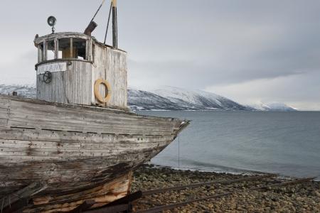 Weathered fishing boat Kvaloya Sallir Stock Photo - 20740428