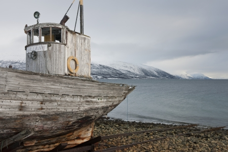 Weathered fishing boat Kvaloya Sallir Stock Photo - 20740428