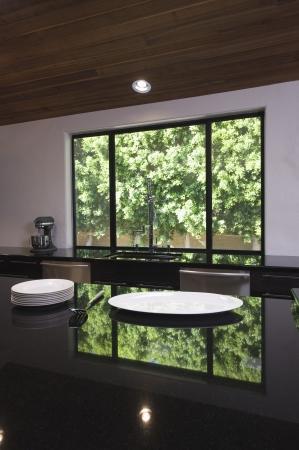 homeware: Empty plates on black gloss kitchen worktop LANG_EVOIMAGES