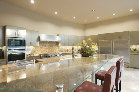 glass topped: Glass topped kitchen surface with stainless steel fitted units LANG_EVOIMAGES