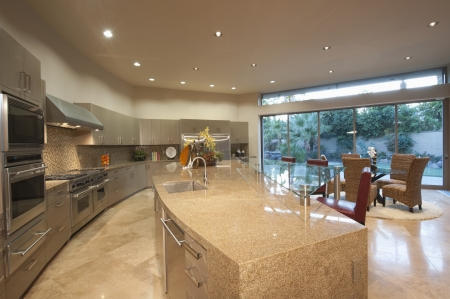 styled interior: Architecturally designed kitchen with dining area