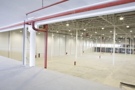 empty warehouse: Empty warehouse with red piping