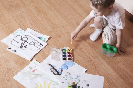 Young boy with paintbox Stock Photo - 20740826
