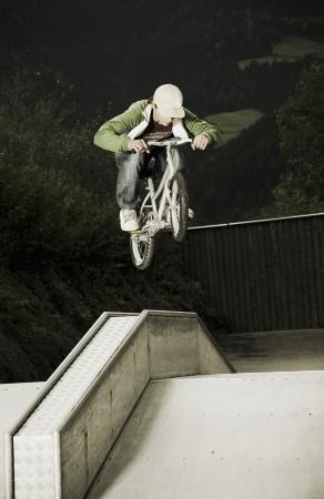midair: BMX rider in mid-air