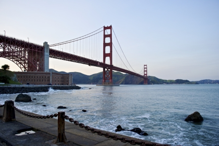 charles county: Golden Gate Bridge low angle perspective
