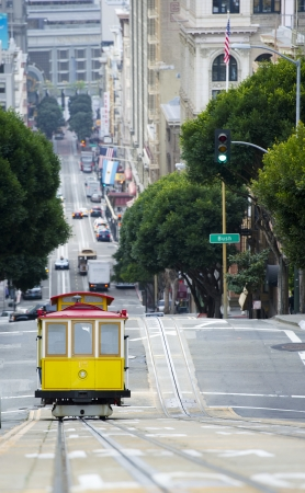 tramline: Elevated view of tram on uphill ascent San Francisco