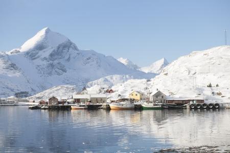 sund: Coastal landscape and fishing village Sund in Flakstadoya Loftofen Norway