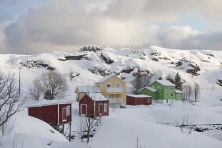sund: Hill village of Sund on  Flakstadoya Loftofen Norway