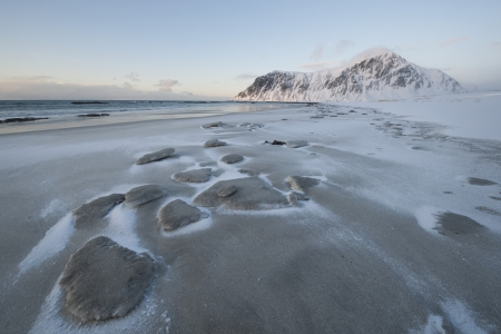 residue: Salt residue on beach on Flakstadoya island Loftofen Norway