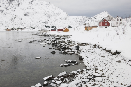 arctic waters: Village in coastal landscape Skjelfjord Flakstadoya Loftofen Norway