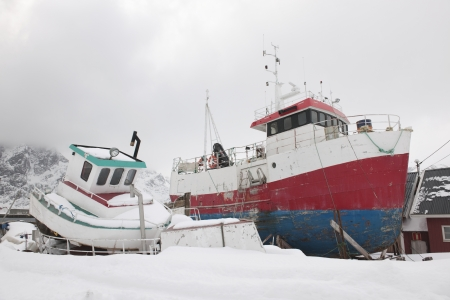 sund: Fishing boats in Sund Flakstadoya Loftofen Norway