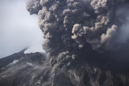 mountainside: Cloud of volcanic ash from Sakurajima Kagoshima Japan