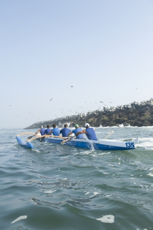 outrigger: Outrigger canoeing team in training