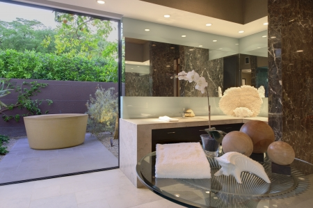 glass topped: Artwork of freestanding bath in California bathroom