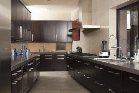 liquidiser: Dark wood galley kitchen