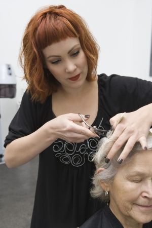 Stylist cuts elderly woman's hair Stock Photo - 20741448