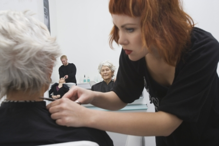 bending forward: Stylist makes finishing touches to elderly womans hair LANG_EVOIMAGES