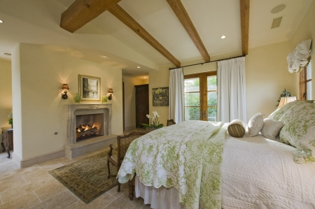 Bedroom interior with fireplace Stock Photo - 20741838