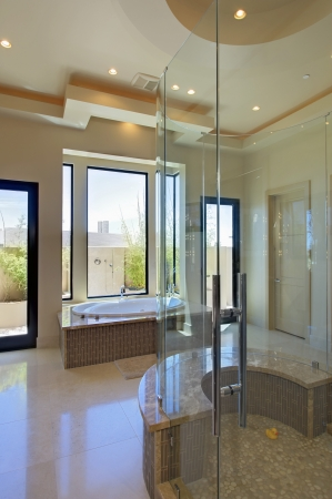 shower cubicle: Bathroom with a bath and a shower room