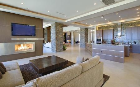 オープン予定の家具とインテリア、キッチンとテレビ