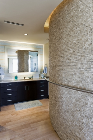 stone wash: Bathroom interior with large curved wall