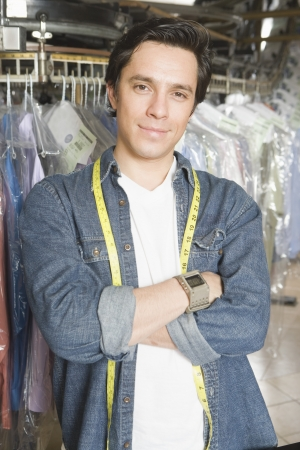 Man working in the laundrette Stock Photo - 20741932