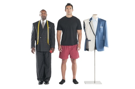 customer tailor: Portrait of tailor standing with customer over white background