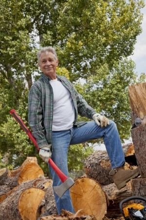 occ: Lumberjack with an axe standing with stack of chopped firewood in background LANG_EVOIMAGES