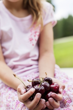 bing: Close-up of hands full with bing cherries