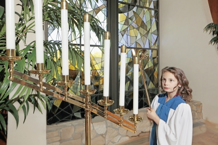 christian community: Young girl in the church
