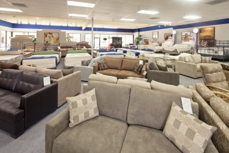 furniture store: Seating furniture and mattress displayed in store LANG_EVOIMAGES