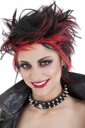 spiked hair: Portrait of beautiful young punk woman with spiked hair LANG_EVOIMAGES
