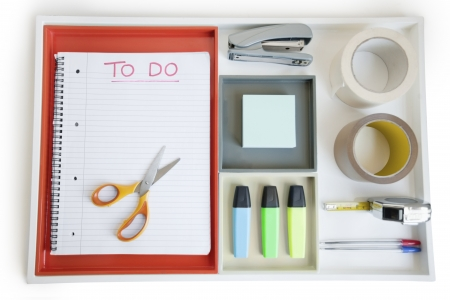 adhesive tape: Close-up view of office supplies arranged neatly LANG_EVOIMAGES