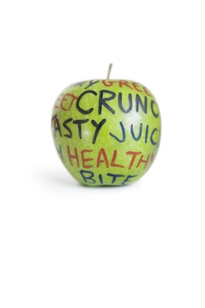 orthographic: Close-up of a granny smith apple with orthographic text over white background
