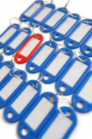 decisionmaking: Close-up of red surrounded with blue key ring tags LANG_EVOIMAGES