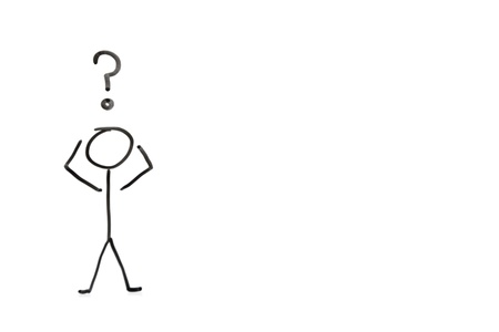 questioning: Stick figure with question mark depicting confusion over white background