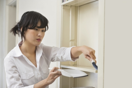 domestic staff: Female housekeeper cleaning shelf LANG_EVOIMAGES