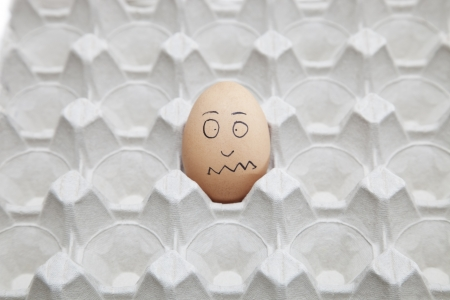 befuddled: Anthropomorphic brown egg in empty carton