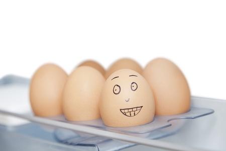 anthropomorphic: Anthropomorphic and plain brown eggs in carton against white background