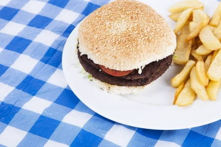 Close-up of hamburger and French fries on table Stock Photo - 20770023