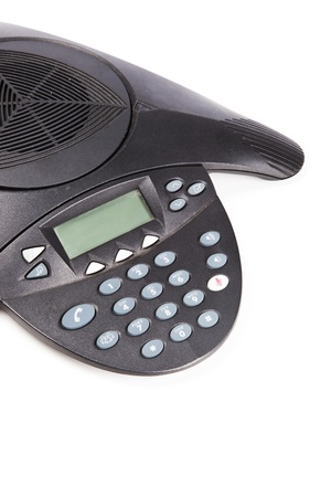 teleconferencing: Speaker phone over white background